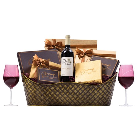 Executive Wine Chocolate Gift Basket with Designer Wine Glasses WB010