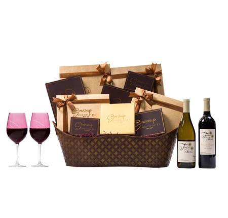 VIP Wine Chocolate Gift Basket with Designer Wine Glasses WB012