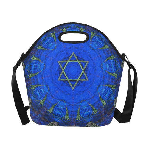 3e9650b340d7 Maguen David and fishes - Judaica Neoprene insulated lunch bag-large  capacity-Sandrine Kespi Creations design-6.69