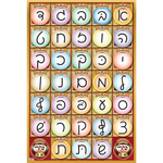 Ksav-Yad (script) Alef-Bais educational colorful wall poster, for kids at school/home  High quality, fully laminated. CY