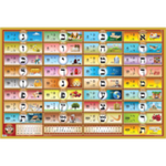 Alef Bais educational colorful wall poster (Level 2), with LOSHON-KODESH keywords & beautiful pictures, for kids at school/home  High quality, fully laminated. LK2-B