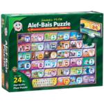 "Alef Bais 24 Pc. floor puzzle - LOSHON-KODESH / ENGLISH captions with pictures (24"" x 36"") P-ENG-LK"