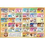 Alef Bais educational colorful wall poster (Level 1), with YIDDISH keywords & beautiful pictures, for kids at school/home  High quality, fully laminated. YD1-B