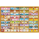 Alef Bais educational colorful wall poster (Level 2), with YIDDISH keywords & beautiful pictures, for kids at school/home  High quality, fully laminated. YD2-B