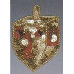 Jewish Applique: Dreidel, gold and red 1701