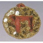 Jewish Applique: Chai, gold and red 1709