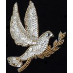 Applique: Sequined Dove with gold trim 17A10783GLD