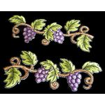 Jewish Applique: Grapes on Vine in Pair, Iron on 17A16667