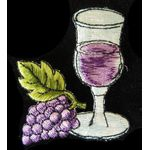 Jewish Applique: Kiddush Cup with Grapes, Iron-On 17A16679