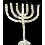 Jewish Applique: Silver Menorah, Sew On 17SM5516S