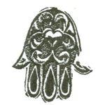 Jewish Rubber Stamp: Hamsa with Heart 1820-566C