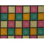 Fabric: Gold & Silver Stars of David on Colored Squares 6714