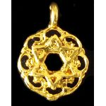 Charm: Small Star of David in Ornate Circle, gold 1094G