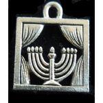 Chanukah Charm: Menorah In Window, pewter 1322P