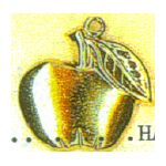 Jewish New Year Charm: Apple, gold 1343