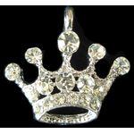 Charm: Rhinestone Purim Crown, Silver 1373