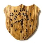Wedding gift, Israeli Handmade Judaica art Wooden Hebrew recycled Olive wood wall clock C72 575418863