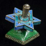 Dreidel: Blue & Green Enamel with stand JT618