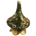 Dreidel: Gold Bouquet of lowers on Green Dreidel QC636