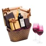 Signature Wine Chocolate Gift Basket with Designer Wine Glasses WB008