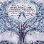 "birds lovers in the tree of life- Sandrine Kespi Creations printable pdf-  interfaith or Reform wording- ketubah to fill - 23.4x 23.4""- 60x60cm pdf 19"