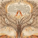 "birds lovers in the tree of life- Sandrine Kespi Creations printable pdf-  interfaith or Reform wording- ketubah to fill - 23.4x 23.4""- 60x60cm pdf 25"