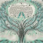 "birds lovers in the tree of life- Sandrine Kespi Creations printable pdf-  interfaith or Reform wording- ketubah to fill - 23.4x 23.4""- 60x60cm pdf 26"