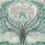 "birds lovers in the tree of life- Sandrine Kespi Creations printable pdf-  interfaith or Reform wording- ketubah to fill - 23.4x 23.4""- 60x60cm [CLONE] [CLONE] pdf 27"