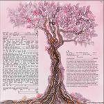 "modern version of the tree of life- Sandrine Kespi Creations printable pdf-  interfaith or Reform wording- ketubah to fill - 23.4x 23.4""- 60x60cm pdf 42"