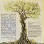 "modern version of the tree of life- Sandrine Kespi Creations printable pdf-  interfaith or Reform wording- ketubah to fill - 23.4x 23.4""- 60x60cm [CLONE] pdf 43"