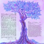 "modern version of the tree of life- Sandrine Kespi Creations printable pdf-  interfaith or Reform wording- ketubah to fill - 23.4x 23.4""- 60x60cm pdf 40"