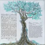 "modern version of the tree of life- Sandrine Kespi Creations printable pdf-  interfaith or Reform wording- ketubah to fill - 23.4x 23.4""- 60x60cm pdf 44"