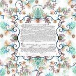 "Oriental millefiori- Sandrine Kespi Creations printable pdf-  interfaith or Reform wording- ketubah to fill - 23.4x 23.4""- 60x60cm pdf 15"