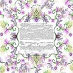 "Oriental millefiori- Sandrine Kespi Creations printable pdf-  interfaith or Reform wording- ketubah to fill - 23.4x 23.4""- 60x60cm pdf 16"