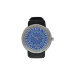 "Hebrew alphabet mandala-Judaica- Men's resin strap watch-1.77"" diameter-think, modern and original gift-Sandrine Kespi Creations design-collection watch men's resine strap watch-Alphabet mandala"