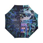 "Hebrew alphabet mandala -Judaica gift- Semi automatic large umbrella-Sandrine Kespi Creation design-can open with one hand in one second-long handle 20.4""-  coverage 42.5""-rain and sun semi automatic large umbrella- Hebrew alphabet mandala 1"