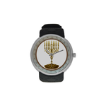 "Candelar-Judaica- Men's resin strap watch-1.77"" diameter-think, modern and original gift-Sandrine Kespi Creations design-collection watch men's resine strap watch-menorah"
