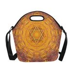 "Maguen David and fishes - Judaica Neoprene insulated lunch bag-large capacity-Sandrine Kespi Creations design-6.69"" x 15.04"" x 14.21"" -shoulder strap-custom possible lunch bag-maguen david and fishes-red"