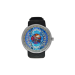 "Hebrew alplabet-Judaica- Men's resin strap watch-1.77"" diameter-think, modern and original gift-Sandrine Kespi Creations design-collection watch men's resine strap watch-Hebrew alphabet"