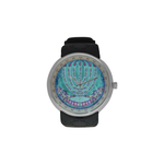 "Menorah-Judaica- Men's resin strap watch-1.77"" diameter-think, modern and original gift-Sandrine Kespi Creations design-collection watch [CLONE] men's resine strap watch-menorah"