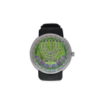 "Menorah-Judaica- Men's resin strap watch-1.77"" diameter-think, modern and original gift-Sandrine Kespi Creations design-collection watch men's resine strap watch-Menorah"