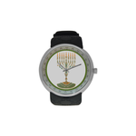 "Candelar-Judaica- Men's resin strap watch-1.77"" diameter-think, modern and original gift-Sandrine Kespi Creations design-collection watch [CLONE] men's resine strap watch-menorah"