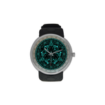 "Protection Mandala-Judaica- Men's resin strap watch-1.77"" diameter-think, modern and original gift-Sandrine Kespi Creations design-collection watch men's resine strap watch- Protection mandala"