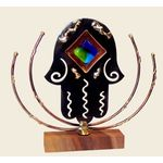 Gary Rosenthal Large Lasercut Hamsa with Fused Glass GR-HS3