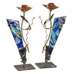 Gary Rosenthal Brilliant Blue Sabbath Candlesticks GR-SC3