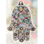 Michal Golan Silvertone Floral Wall Hamsa with Hebrew Lettering MG-GL31