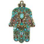 Michal Golan Turquoise Ornate Wall Hamsa MG-GL401