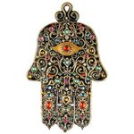 Michal Golan Black Multi Color Ornate Wall Hamsa MG-GL403