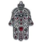 Michal Golan  Silver and Red Heart Wall Hamsa MG-GL407