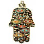 Michal Golan  Black and Multi Color  Evil Eye Wall Hamsa MG-GL409